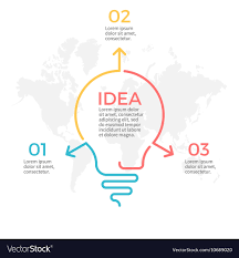 Light Bulb Infographic Idea Chart With 3 Steps