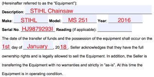 Free Equipment Bill Of Sale Form Word Pdf Eforms