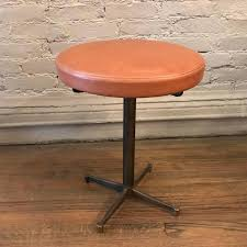 vintage antique industrial midcentury mid century mid century modern french france paris vanity stool camel caramel stool leather upholstered new perfect