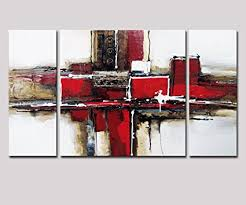 >amazon noah art 3 panel abstract wall art red and black 100  noah art 3 panel abstract wall art red and black 100 hand painted modern