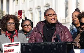 melanie l campbell president and convener of the black women s roundtable center speaking at a news conference for the bwr summit in washington dc on