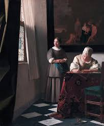 1200px Woman writing a letter with her maid by Johannes Vermeer