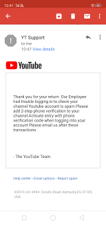 Spam Account Tell Me Its Fake Or Real Email From Youtube For Spam Videos