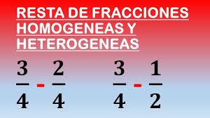 resta de fracciones geneas y heterogeneas matemateando