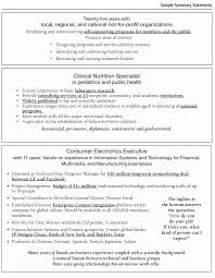 Resume Summary Samples Cool Resume Summary Examples Sample Summary Statements For Resumes Job