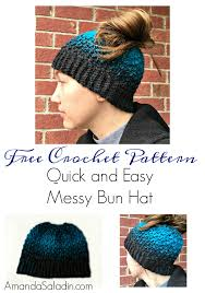 Bun Hat Pattern Simple Quick And Easy Messy Bun Hat Free Crochet Pattern Amanda Saladin