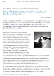 Career Guidance Articles Pdf Extending The Scope Career Guidance In Higher