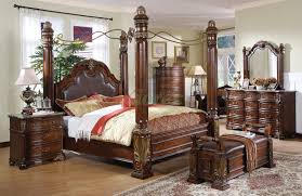 high end traditional bedroom furniture. Poster Bedroom Set W Metal Canopy \u0026 Leather Headboard Queen And King Beds High End Traditional Furniture D