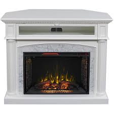 scott living 54 in w 5 200 btu white painted mdf infrared quartz electric fireplace with media mantel thermostat and remote