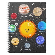 Solar System Kawaii Happy Planets Stars Chart Notebook