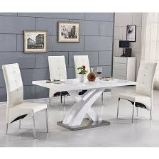 small dining table in white high gloss