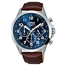 leather men s watches john lewis buy lorus rt379fx9 men s chronograph date leather strap watch maroon blue online at johnlewis