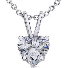 14k white gold 1 2ct tdw diamond solitaire necklace gh si1 si2