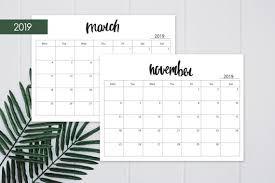 Monthly Calendar 2019 Printable Monthly Planner Calendar 2019 Hand Lettered Monday And Sunday Start Calendar