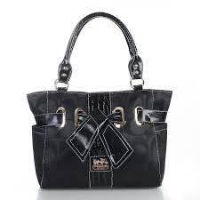 Coach Poppy Bowknot Signature Medium Black Totes FDD