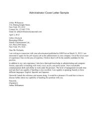 Cover Letter Cover Letter For Administration Sample Cover Letter