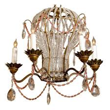 french five light balloon shape crystal and glass chandelier with colored beads