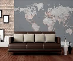 silver world map wall mural wallpaper