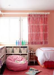 girls room with short curtains