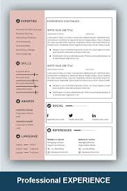 One Page Resume Templates Modern Resume Template Professional Microsoft Word Creative