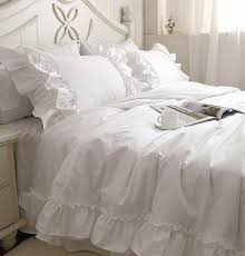 romantic white falbala ruffle lace bedding sets princess duvet cover set solid color comforter