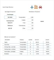 Sample Travel Budget