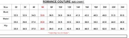 Romance Couture Size Chart Size Chart