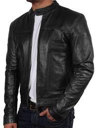 mens black slim fit biker motorcycle vintage cafe racer genuine leather jacket