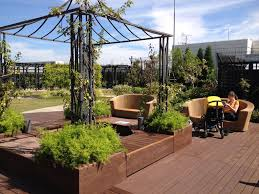 Exterior:Adorable Rooftop Vegetable Garden Ideas With Wooden Deck Flooring  Also Fancy Wicker Sofa Plus
