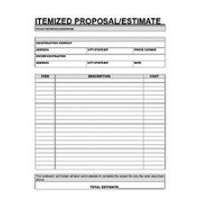 Sample Estimate Forms For Contractors Free Printable Contractor Proposal Forms Home Clearance