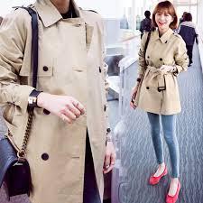 classy spring fall women khaki petite trench coat las belt replacement double t middle long slim basic overcoat korea women clothing