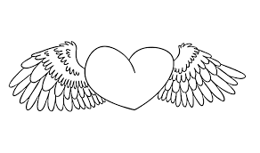 Heart Coloring Pages With Wings Coloringstar