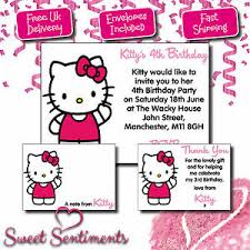 Hello Kitty Party Invitation Details About Personalised Hello Kitty Birthday Party Invitation Thank You Card Tr1