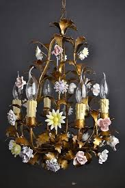 6 arm toleware chandelier with porcelain flowers