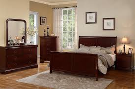 Cherry Wood Slay Bed Frame — USA LUX FURNITURE