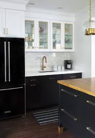 Black Refrigerator With Black Base Cabinets And White Upper And Beautiful  Timid White Kitchen Cabinets (