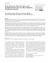 pdf dose accuracy injection force and uity essment of a new half unit prefilled insulin pen