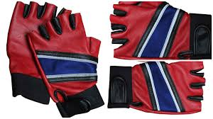 harley quinn red and blue gloves