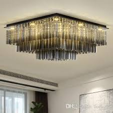 dimmable modern led rectangle crystal chandeliers high end clear k9 crystals surface mounted chandelier for living room bedroom hotel room large chandeliers