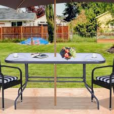 outsunny metal garden dining tables