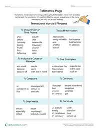 Transition Words Phrases Task Cards Worksheet