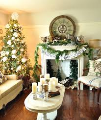 Captivating Living Room Design In Christmas With Christmas Tree In The  Corner and Greenery Mantel Decoration