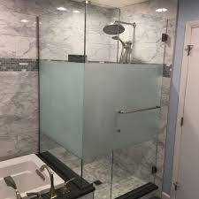 customized acid etched frosted tempered interior shower door glass manufacturer