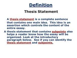 the thesis statement acirc copy by ruth luman a road map for your 3 introduction thesis statements after you have brainstormed and you have some main ideas of what you would like to write in your essay you can begin