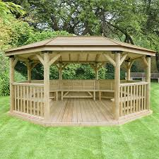 17 x12 5 1x3 6m premium oval furnished wooden garden gazebo with timber roof seats up to 22 people sheds direct