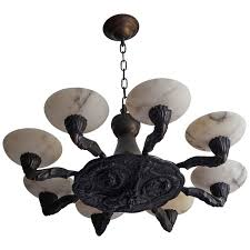 early twentieth century renaissance style bronze chandelier alabaster shades for