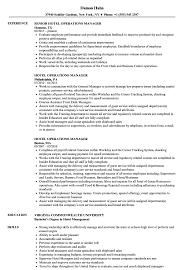 Hotel Job Resume Sample Hotel Operations Manager Resume Samples Velvet Jobs 42
