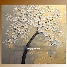 hand painted palette knife thick texture white flower oil painting on canvas new design high quality