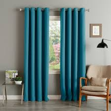 aurora home teal grommet top thermal insulated blackout curtain panel pair