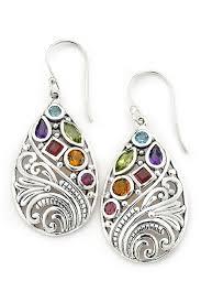 image of samuel b jewelry sterling silver multi gemstone filigree teardrop earrings